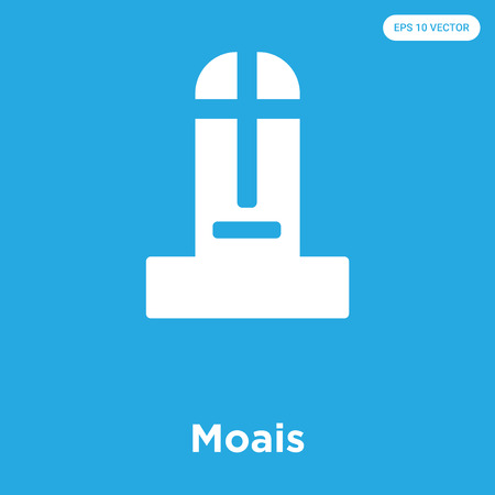 Moais vector icon isolated on blue background, sign and symbol