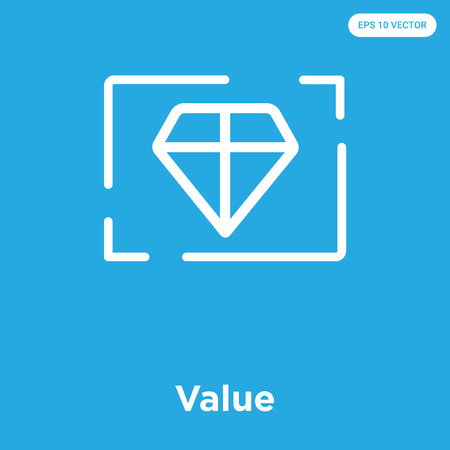 Value vector icon isolated on blue background, sign and symbol Illustration