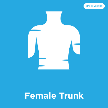 Female Trunk vector icon isolated on blue background, sign and symbol