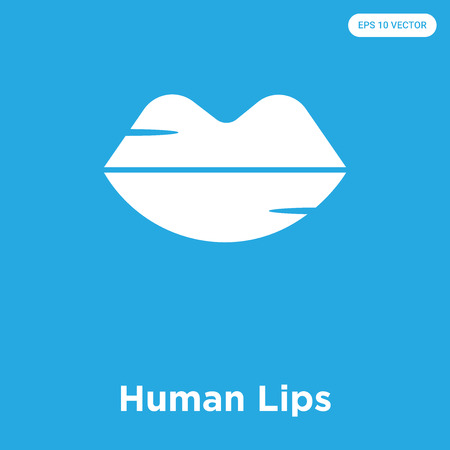 Human Lips vector icon isolated on blue background, sign and symbol
