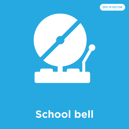 School bell vector icon isolated on blue background, sign and symbol
