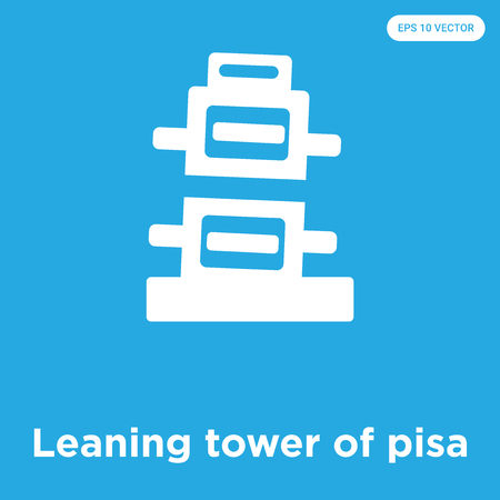 Leaning tower of pisa vector icon isolated on blue background, sign and symbol Illustration