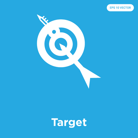 Target vector icon isolated on blue background, sign and symbol