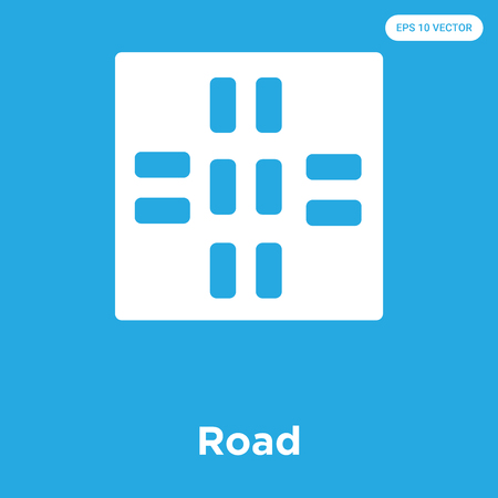 Road vector icon isolated on blue background, sign and symbol Vectores