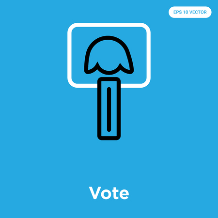 Vote vector icon isolated on blue background, sign and symbol Ilustração
