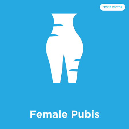 Female Pubis vector icon isolated on blue background, sign and symbol Illustration