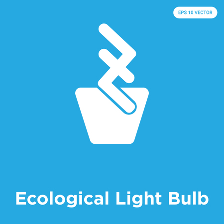 Ecological Light Bulb vector icon isolated on blue background, sign and symbol