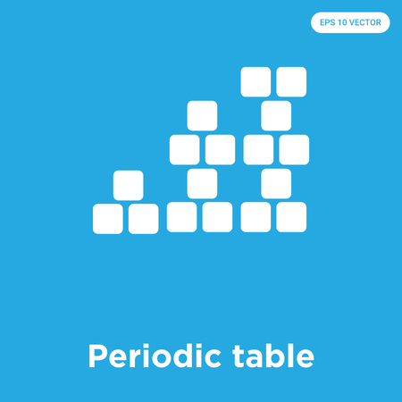 Periodic table vector icon isolated on blue background, sign and symbol
