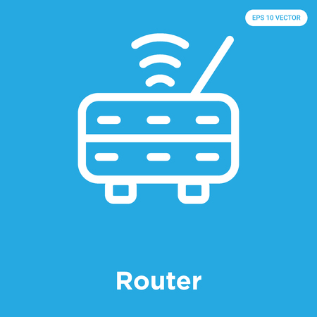 Router vector icon isolated on blue background, sign and symbol