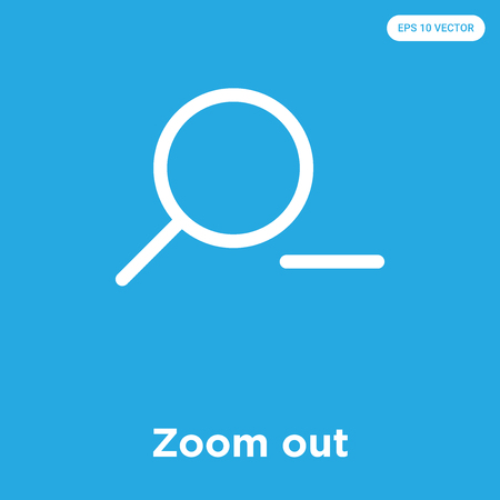Zoom out vector icon isolated on blue background, sign and symbol