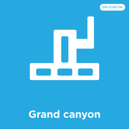 Grand canyon vector icon isolated on blue background, sign and symbol