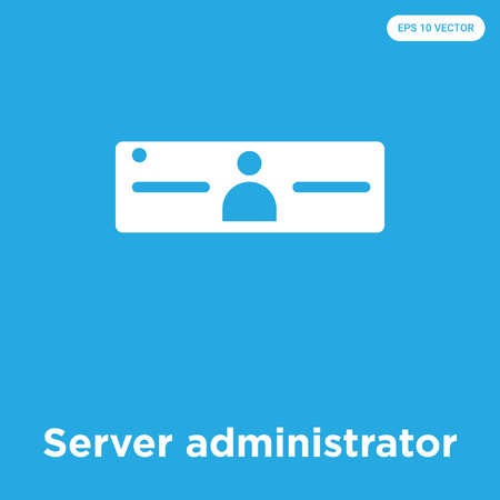 Server administrator vector icon isolated on blue background, sign and symbol Illustration