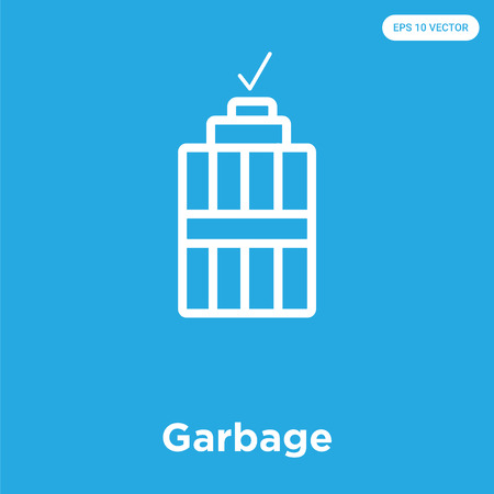 Garbage vector icon isolated on blue background, sign and symbol