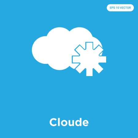 Cloude vector icon isolated on blue background, sign and symbol Illustration