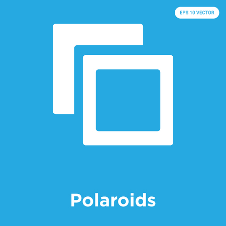 Polaroids vector icon isolated on blue background, sign and symbol Illustration