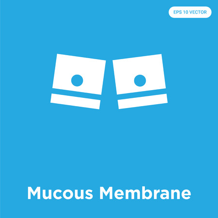 Mucous Membrane vector icon isolated on blue background, sign and symbol