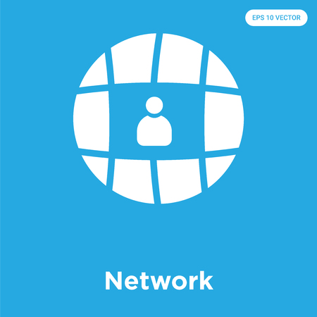 Network vector icon isolated on blue background, sign and symbol