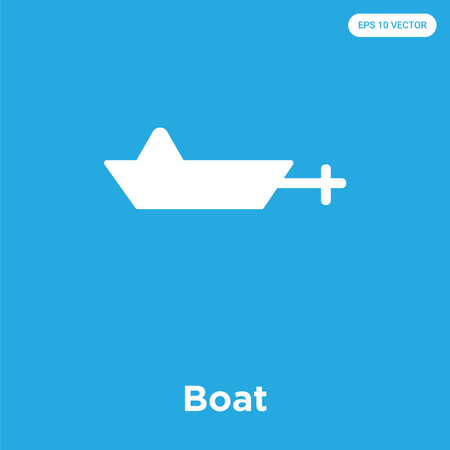Boat vector icon isolated on blue background, sign and symbol