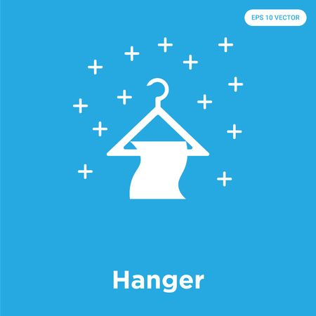 Hanger vector icon isolated on blue background, sign and symbol