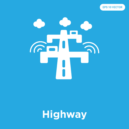 Highway vector icon isolated on blue background, sign and symbol