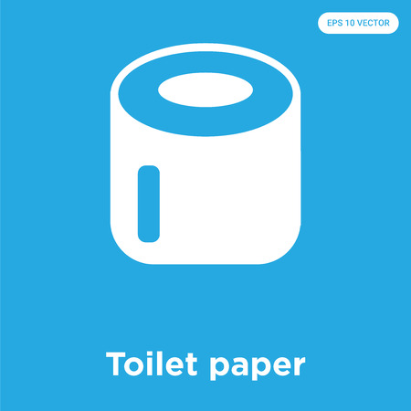 Toilet paper vector icon isolated on blue background, sign and symbol