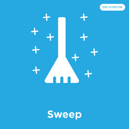 Sweep vector icon isolated on blue background, sign and symbol