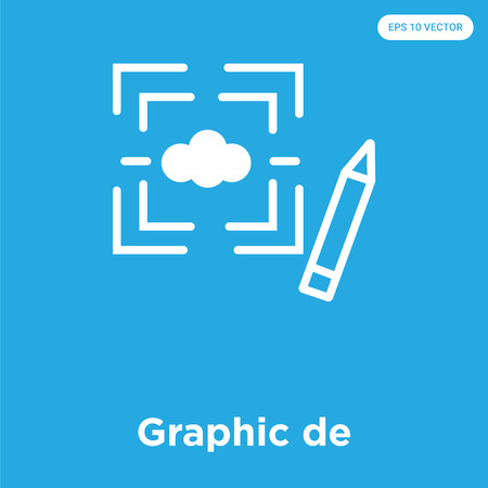 Graphic de vector icon isolated on blue background, sign and symbol