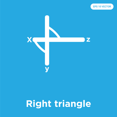Right triangle vector icon isolated on blue background, sign and symbol