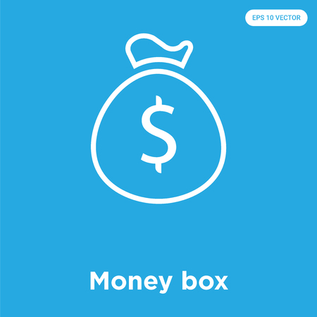 Money box vector icon isolated on blue background, sign and symbol