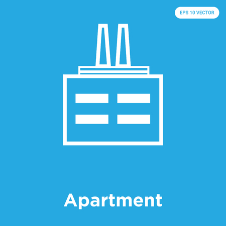 Apartment vector icon isolated on blue background, sign and symbol