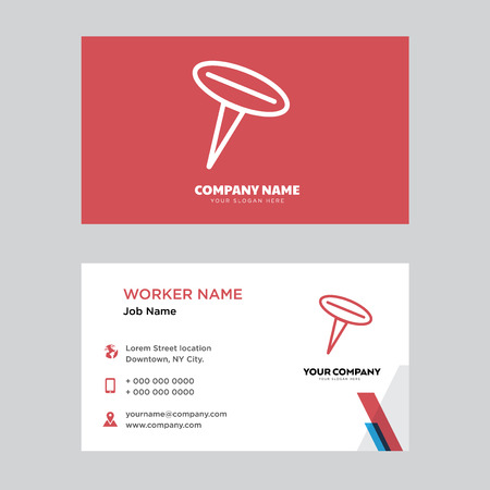 Push pin business card design template, Visiting for your company, Modern horizontal identity Card Vector