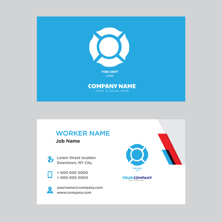 Fire dept business card design template, Visiting for your company, Modern horizontal identity Card Vector Illustration