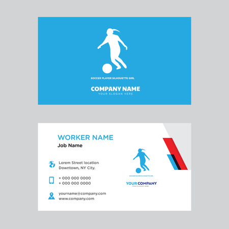 soccer player business card design template, Visiting for your company, Modern horizontal identity Card Vector Иллюстрация