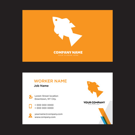Fish with Four bubbles business card design template, Visiting for your company, Modern horizontal identity Card Vector