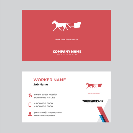 Horse and sleigh business card design template, Visiting for your company, Modern horizontal identity Card Vector