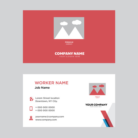 pinnacle business card design template, Visiting for your company. Modern horizontal identity Card.