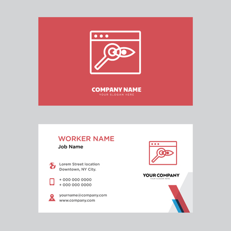 Browser business card design template, Visiting for your company, Modern horizontal identity Card Vector Illustration
