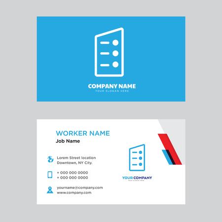 List business card design template. Modern horizontal identity Card Vector.