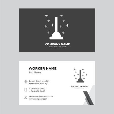 Plunger business card design template. Modern horizontal identity Card Vector.