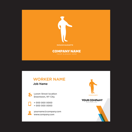 matador business card design template, Visiting for your company, Modern horizontal identity Card Vector