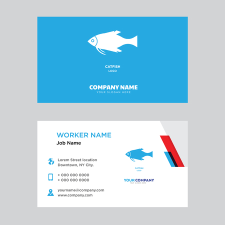 catfish business card design template, Visiting for your company, Modern horizontal identity Card Vector