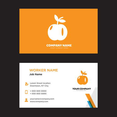 Apple with Leaf business card design template, Visiting for your company, Modern horizontal identity Card Vector