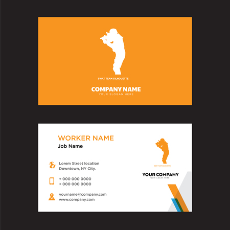 swat team business card design template, Visiting for your company, Modern horizontal identity Card Vector