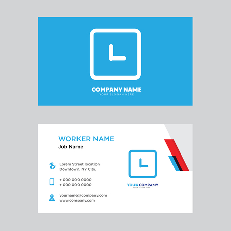 Clock business card design template, Visiting for your company, Modern horizontal identity Card Vector
