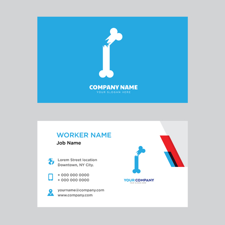 Broken Bone business card design template, Visiting for your company, Modern horizontal identity Card Vector  イラスト・ベクター素材