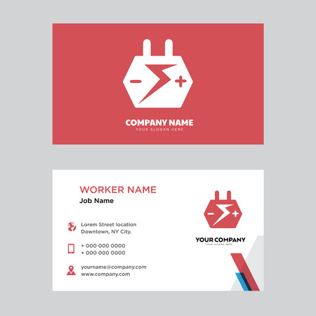 Big Car Battery business card design template, Visiting for your company, Modern horizontal identity Card Vector