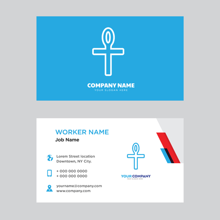 Ankh business card design template, Visiting for your company, Modern horizontal identity Card Vector