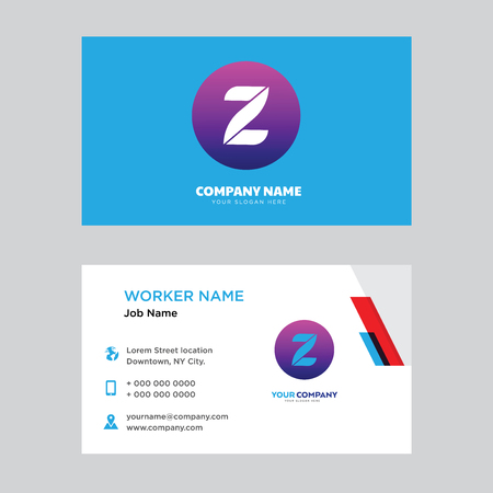 Z business card design template, Visiting for your company, Modern horizontal identity Card Vector