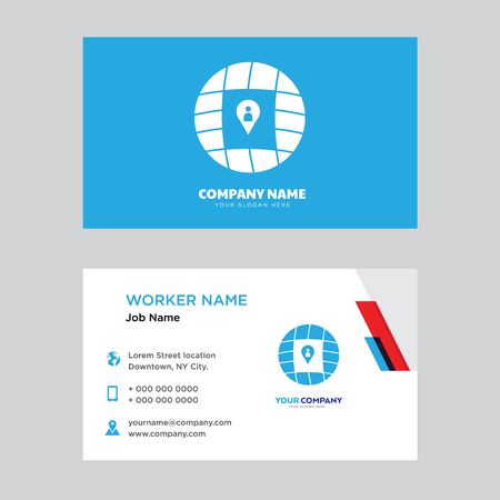 Location business card design template, Visiting for your company, Modern horizontal identity Card Vector  イラスト・ベクター素材