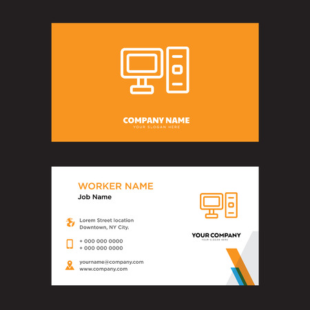 Computer business card design template, Visiting for your company, Modern horizontal identity Card Vector Stock Vector - 100957544